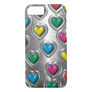 Cool Colorful Metal Look Hearts iPhone 7 case