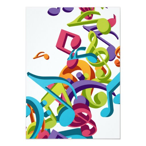 "Cool Colorful music notes & sounds 5"" X 7"" Invitation Card ..."