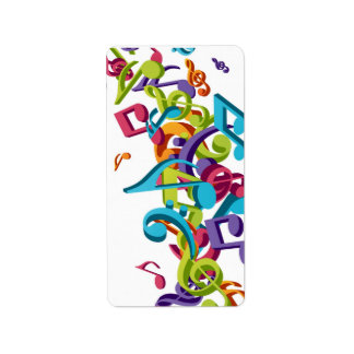 Cool Colorful  music notes & sounds Personalized Address Label