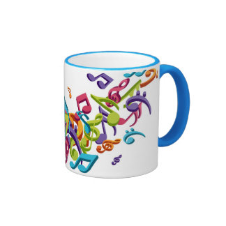 cool colorful music notes & sounds ringer coffee mug