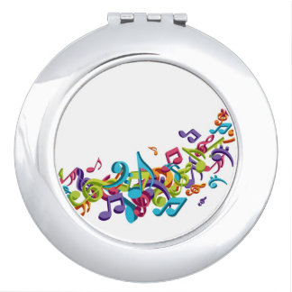 Cool Colorful  music notes & sounds music fashion Makeup Mirror