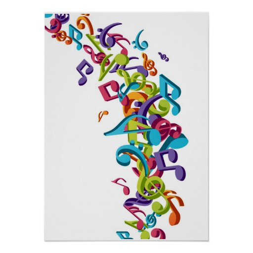 Cool Colorful music notes & sounds Posters | Zazzle