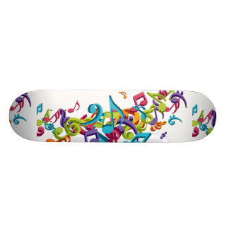 Cool Colorful  music notes & sounds Skateboard