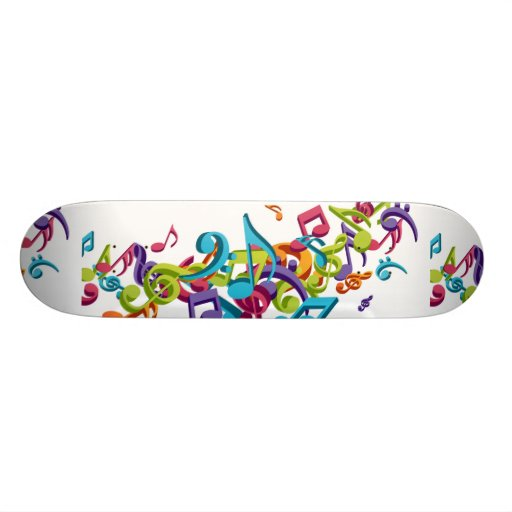 Cool Colorful music notes & sounds Skateboard | Zazzle