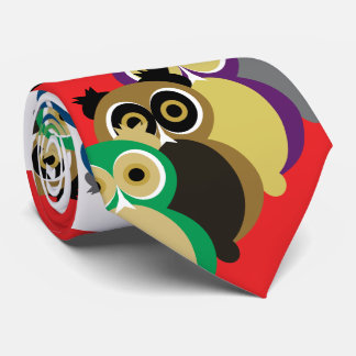 Cool Colorful Owls Neck Tie
