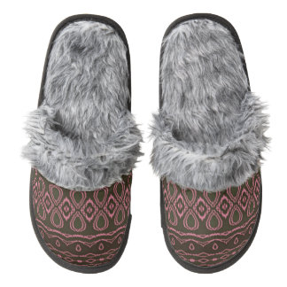 Cool colorful pattern pair of fuzzy slippers