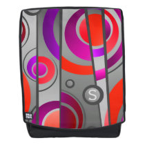 Cool Colorful Pop Art Geometric with Monogram Backpack
