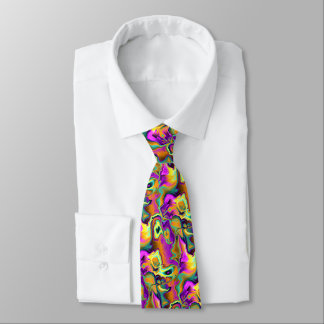 Cool Colorful Retro Chic Fractal Marble Pattern Tie