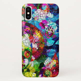 Cool Colorful Retro Flowers Collage iPhone X Case