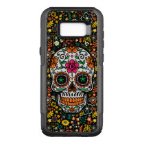 Cool Colorful Retro Flowers Sugar Skull OtterBox Commuter Samsung Galaxy S8  Case