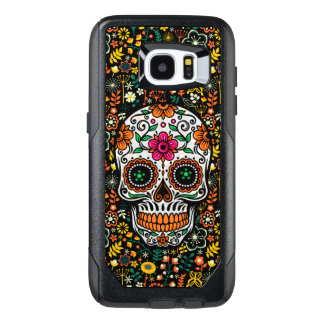 Cool Colorful Retro Flowers Sugar Skull OtterBox Samsung Galaxy S7 Edge Case