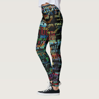 cool & colorful rock & roll pattern black leggings