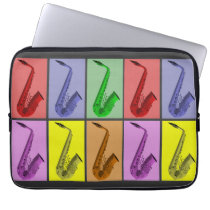 """Cool Colorful Saxophone Collage 13"""" Neoprene Computer  Sleeves at Zazzle"""