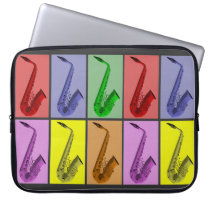 """Cool Colorful Saxophone Collage 15"""" Neoprene Laptop Sleeves  at Zazzle"""
