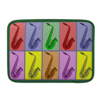"""Cool Colorful Saxophone Collage Air 11"""" Sleeve Sleeve For  MacBook Air at Zazzle"""