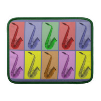 """Cool Colorful Saxophone Collage Air 13"""" Sleeve Sleeves For  MacBook Air at Zazzle"""
