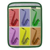 Cool Colorful Saxophone Collage iPad Sleeve at Zazzle