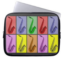 """Cool Colorful Saxophone Collage Neoprene 10"""" Laptop Sleeve  at Zazzle"""