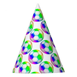 Cool Colorful Soccer | Football Pattern Sport Gift Party Hat