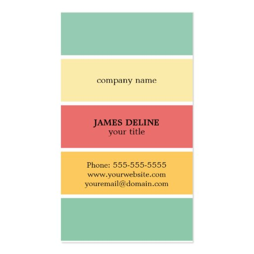 Cool colorful striped professional painter business card for Professional painter business card