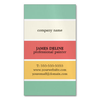 Cool Colorful Striped Professional Painter Magnetic Business Card