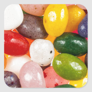 Cool colorful sweet Easter Jelly Beans Candy Square Sticker