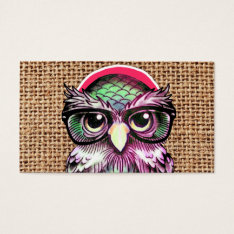 Cool  Colorful Tattoo Wise Owl With Funny Glasses Business Card at Zazzle