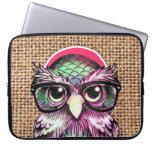 Cool  Colorful Tattoo Wise Owl With Funny Glasses Computer Sleeves