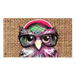Cool  Colorful Tattoo Wise Owl With Funny Glasses Double-Sided Standard Business Cards (Pack Of 100)