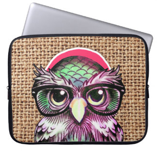 Cool  Colorful Tattoo Wise Owl With Funny Glasses Laptop Sleeve
