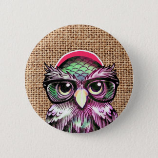 Cool  Colorful Tattoo Wise Owl With Funny Glasses Pinback Button