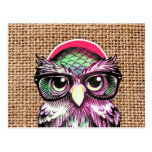 Cool  Colorful Tattoo Wise Owl With Funny Glasses Postcard at Zazzle