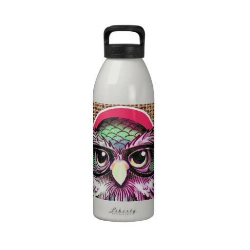 Cool  Colorful Tattoo Wise Owl With Funny Glasses Drinking Bottles