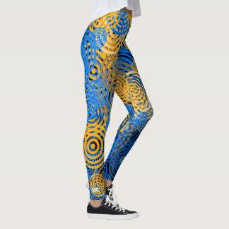 Cool Colorful Trendy Blue & Gold Circles Monogram Leggings