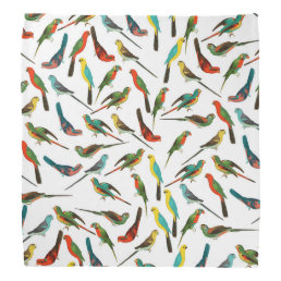 Cool colorful tropical watercolor birds pattern bandana