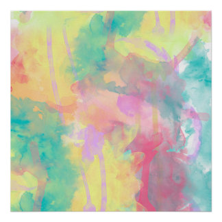 Cool colorful watercolor paint abstract pattern poster