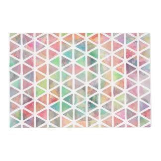Cool colorful watercolor paint triangles placemat