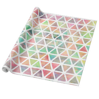 Cool colorful watercolor paint triangles wrapping paper