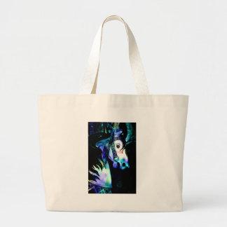Cool Colors Carousel Horse Jumbo Tote Bag