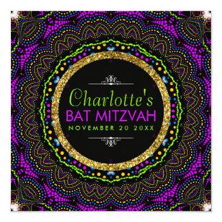 Cool Colors Groovy Flower Bat Mitzvah Invitations