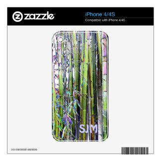 Cool colors of Blues and Greens Bamboo Skins For iPhone 4S