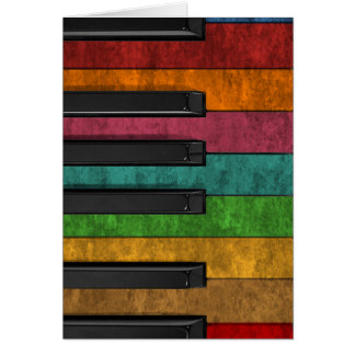 Cool colourful antique grunge effect piano card