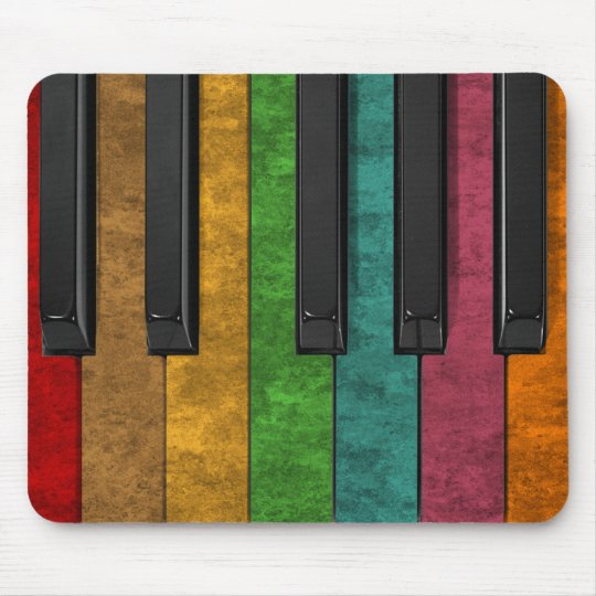 Cool colourful antique grunge effect piano mouse pad