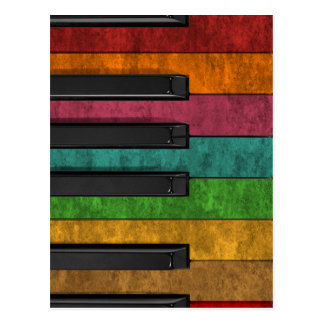Cool colourful antique grunge effect piano postcard