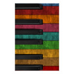 Cool colourful antique grunge effect piano poster