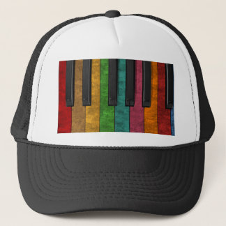 Cool colourful antique grunge effect piano trucker hat