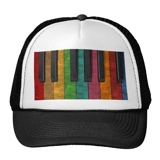 Cool Colorful Antique Grunge Effect Piano Trucker Hat