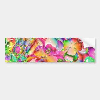 cool colourful bright flowers hearts background bumper sticker