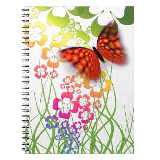 cool colourful butterfly and  clovers spiral note book