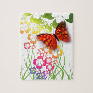 cool colourful butterfly and  clovers puzzle